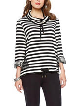 Skye's The Limit Blue & White Striped Mesh Sweatshirt