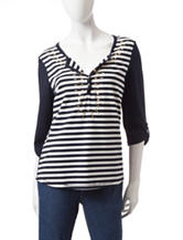 Onque Casuals Navy & White Striped Hi-Lo Top