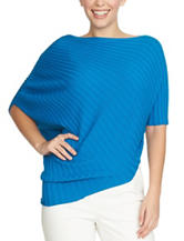 Chaus Peacock Blue Shirred Shoulder Sweater