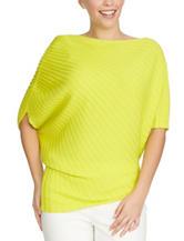 Chaus Citrine Yellow Shirred Shoulder Sweater
