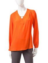Ny Collection Solid Color Hi-Lo Woven Top