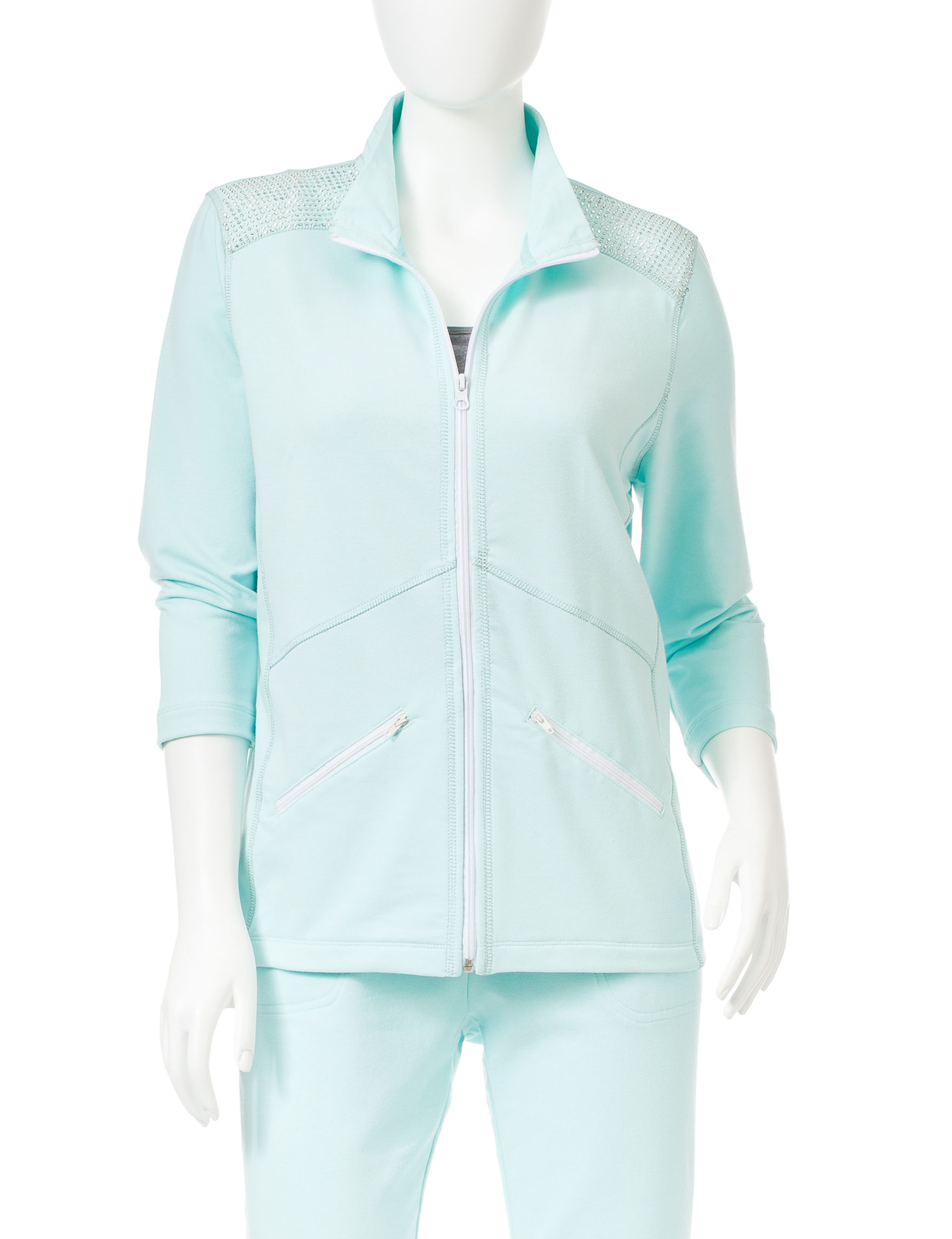 Onque Casuals Teal Lightweight Jackets & Blazers