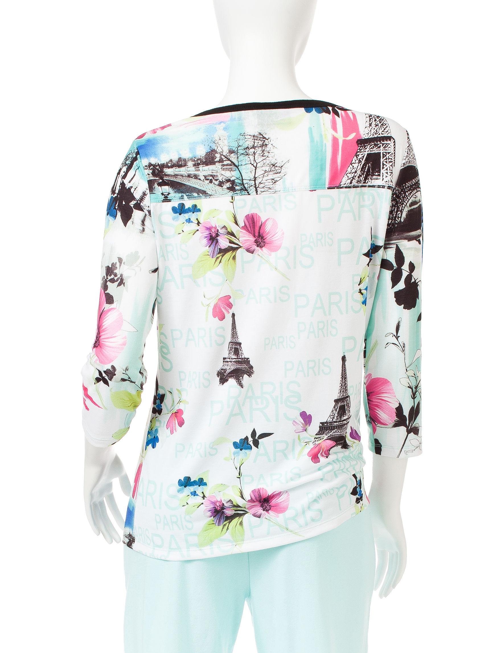 Onque Casuals Aqua Shirts & Blouses