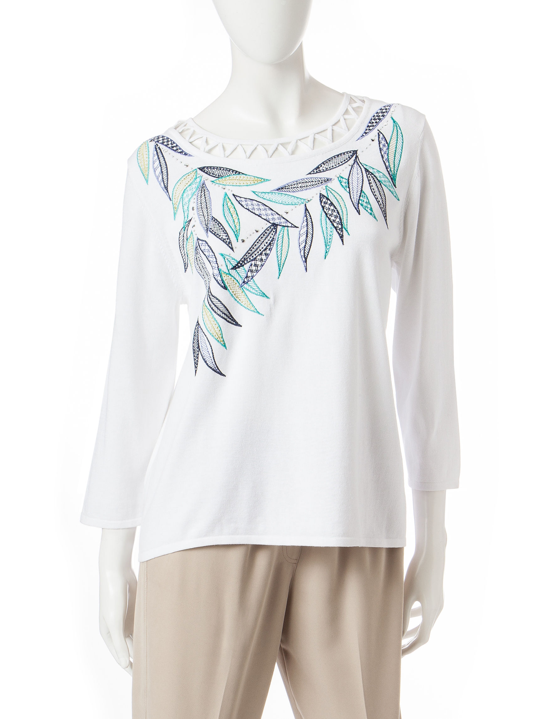 Alfred Dunner White Pull-overs Shirts & Blouses