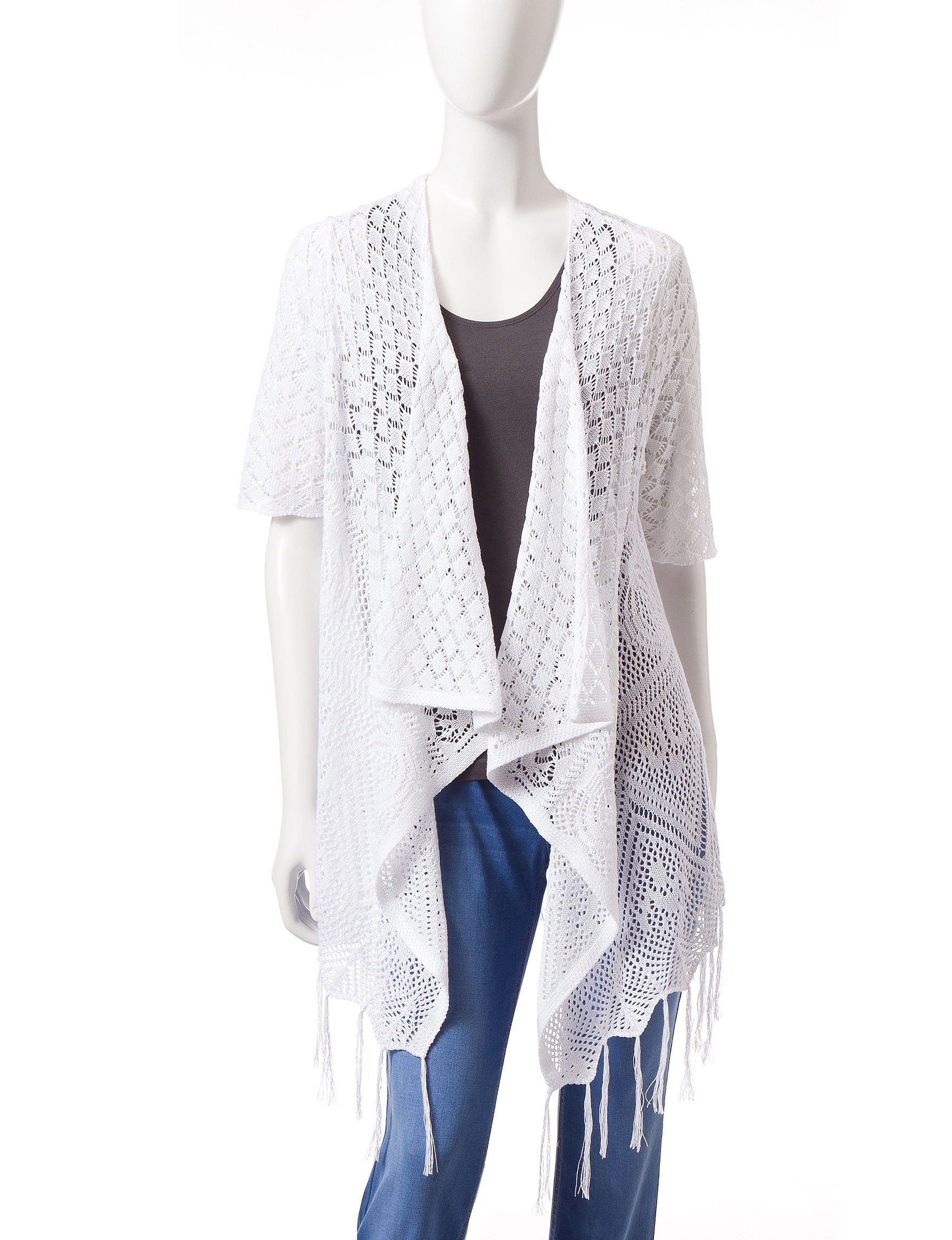 Energe White Cardigans Sweaters