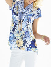 Energe 2-pc. Floral Print Knit Top & Scarf