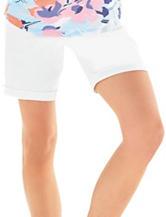 Hannah Solid Color White Denim Bermuda Shorts