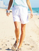 Hannah White Linen Smocked Shorts