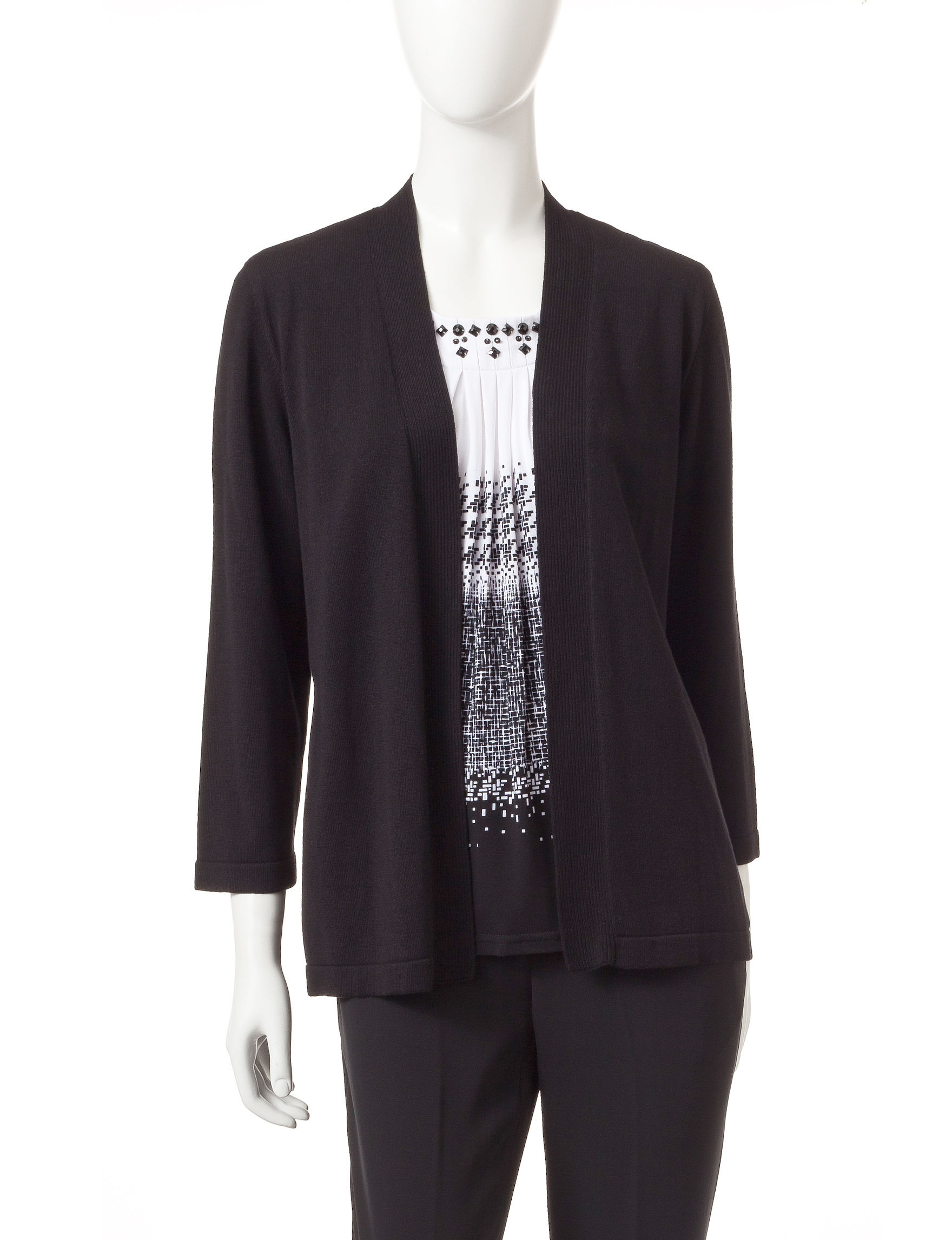 Alfred Dunner Black Cardigans Sweaters