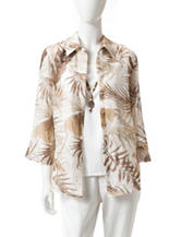 Alfred Dunner Leaf Buryesut Woven Top