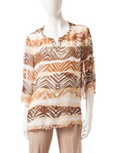 Alfred Dunner Tribal Print Biadere Woven Top