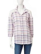 Bandolino Plaid Print Lace Top