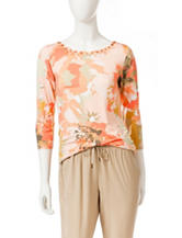 Ruby Rd. Embellished Floral Knit Top