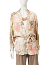 Ruby Rd. Floral Print Belted Woven Cardigan