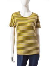 Rebecca Malone Striped Print Knit Top