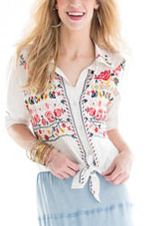 Hannah Embroidered Button-Up Top