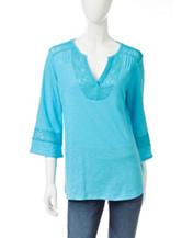 Hannah Solid Color Lace Knit Top