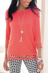 Valerie Stevens Crochet Knit Top