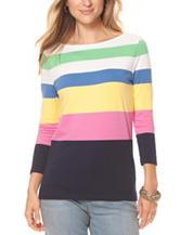 Chaps Multicolor Striped Knit Top