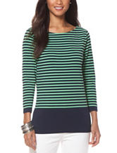Chaps  Navy & Green Striped Knit Top
