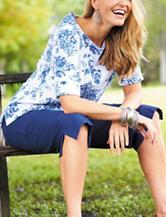 Rebecca Malone Blue & White Floral Print Knit Top