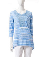 Rebecca Malone Striped Lace Top