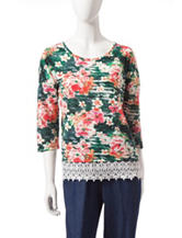 Rebecca Malone Floral Print Crochet Top
