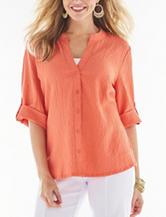 Rebecca Malone Solid Color Puckered Top