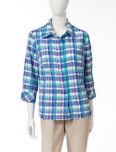Rebecca Malone Plaid Print Pucker Top