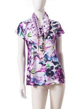 Energé 2-pc. Floral Print Knit Top & Scarf