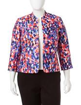 Kasper Plus-size Dot Print Shantung Jacket
