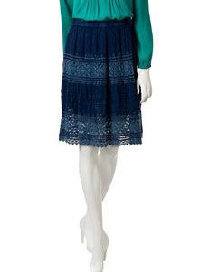 Studio West Tiered Crochet Enzyme Skirt