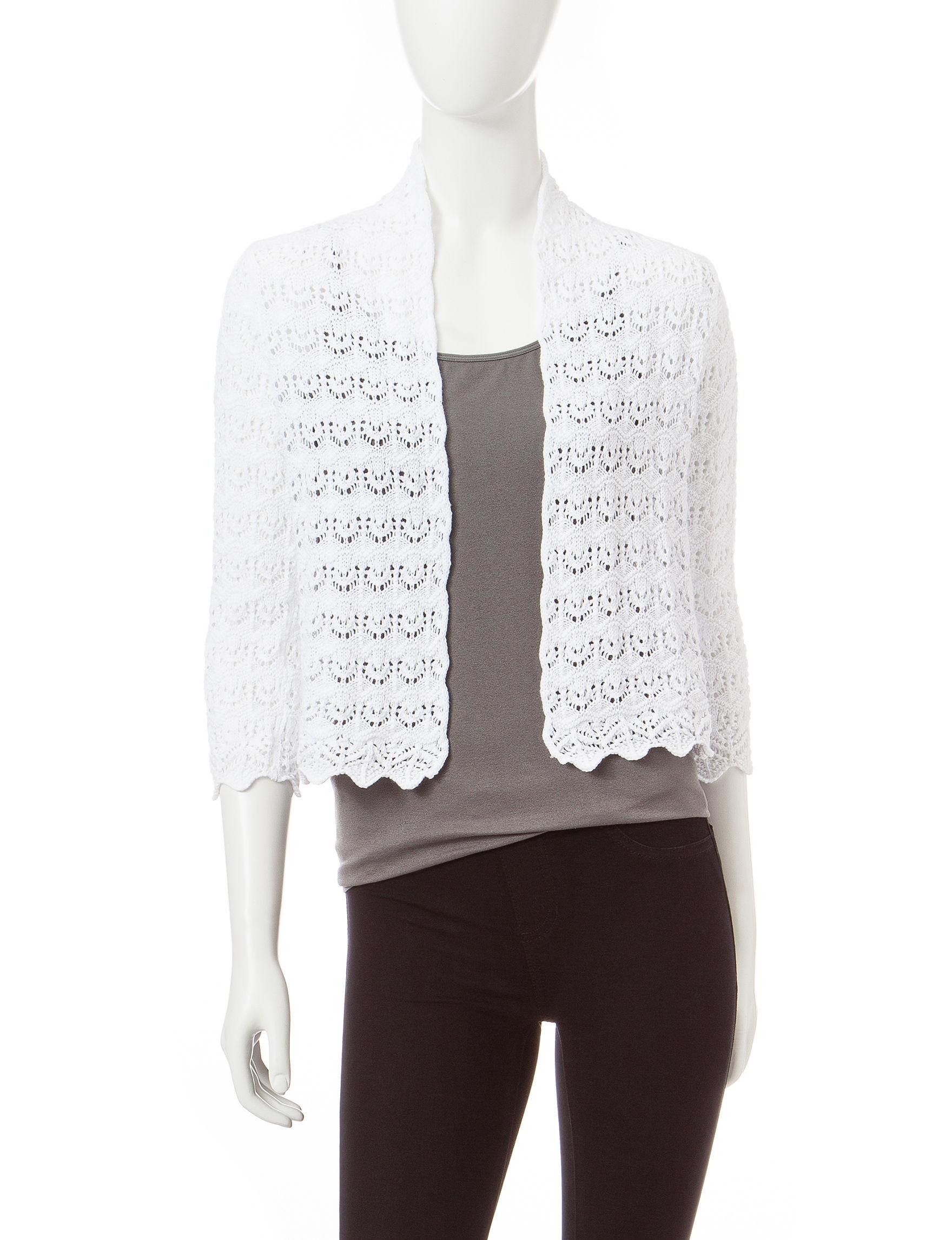 Jeanne Pierre White Cardigans Sweaters