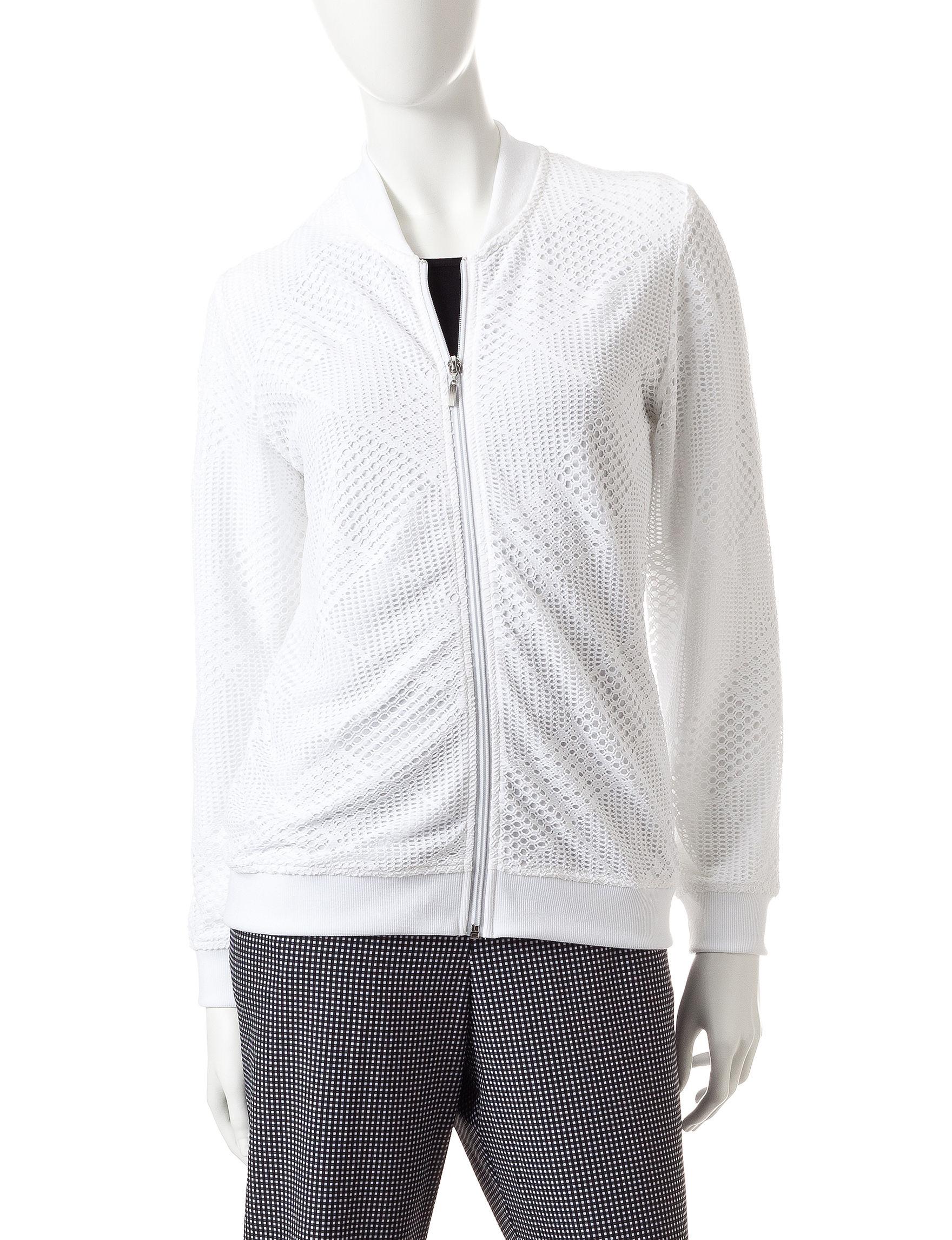 Alfred Dunner White Lightweight Jackets & Blazers