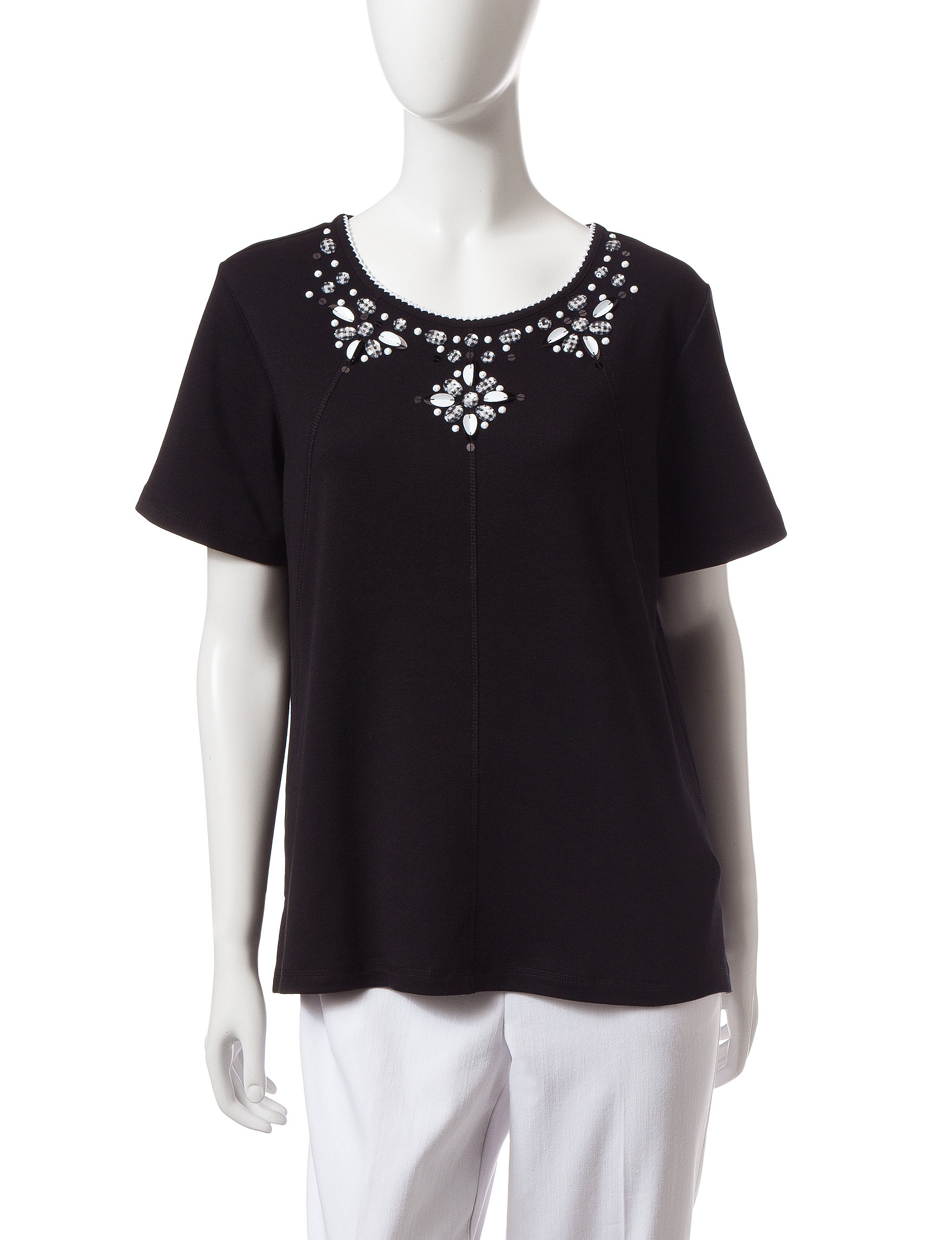 Alfred Dunner Black Shirts & Blouses