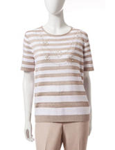 Alfred Dunner Striped Necklace Sweater