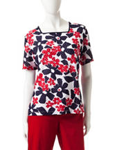 Alfred Dunner Daisy Print Textured Knit Top