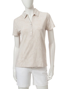 Caribbean Joe Floral Jacquard Polo Top
