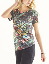 Hannah Tropical Print Burnout Top
