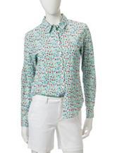 Dockers® Floral Print Boyfriend Woven Top