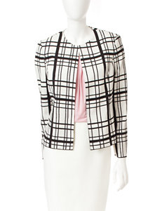 Kasper White & Black Novelty Windowpane Jacket