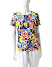 Rebecca Malone Tropical Print Knit Top