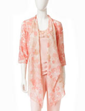 Ruby Rd. Floral Print Cascade Woven Cardigan