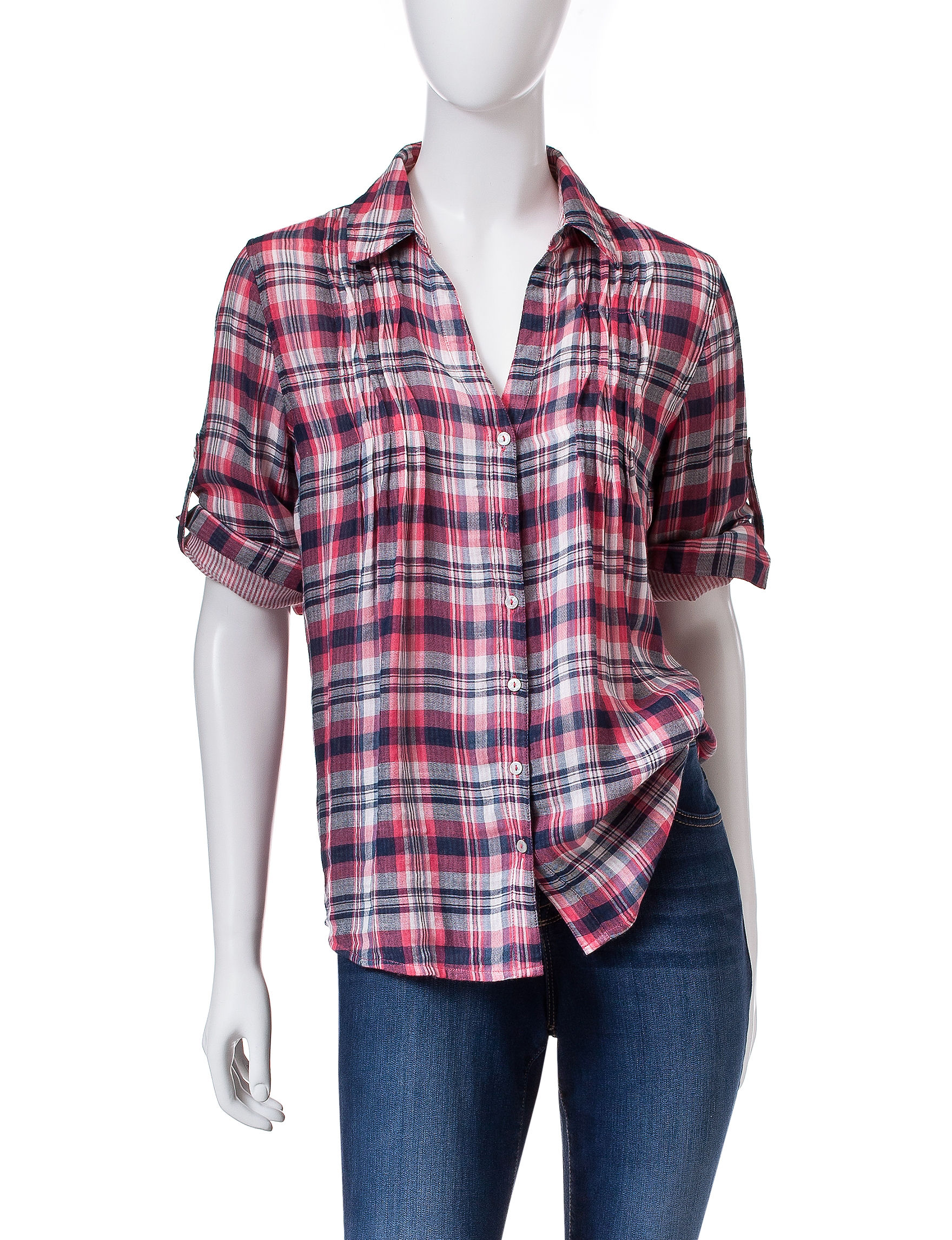 Vintage America Blues Red Plaid Shirts & Blouses