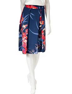 ABS by Allen Schwartz Floral Print Midi Scuba Skirt