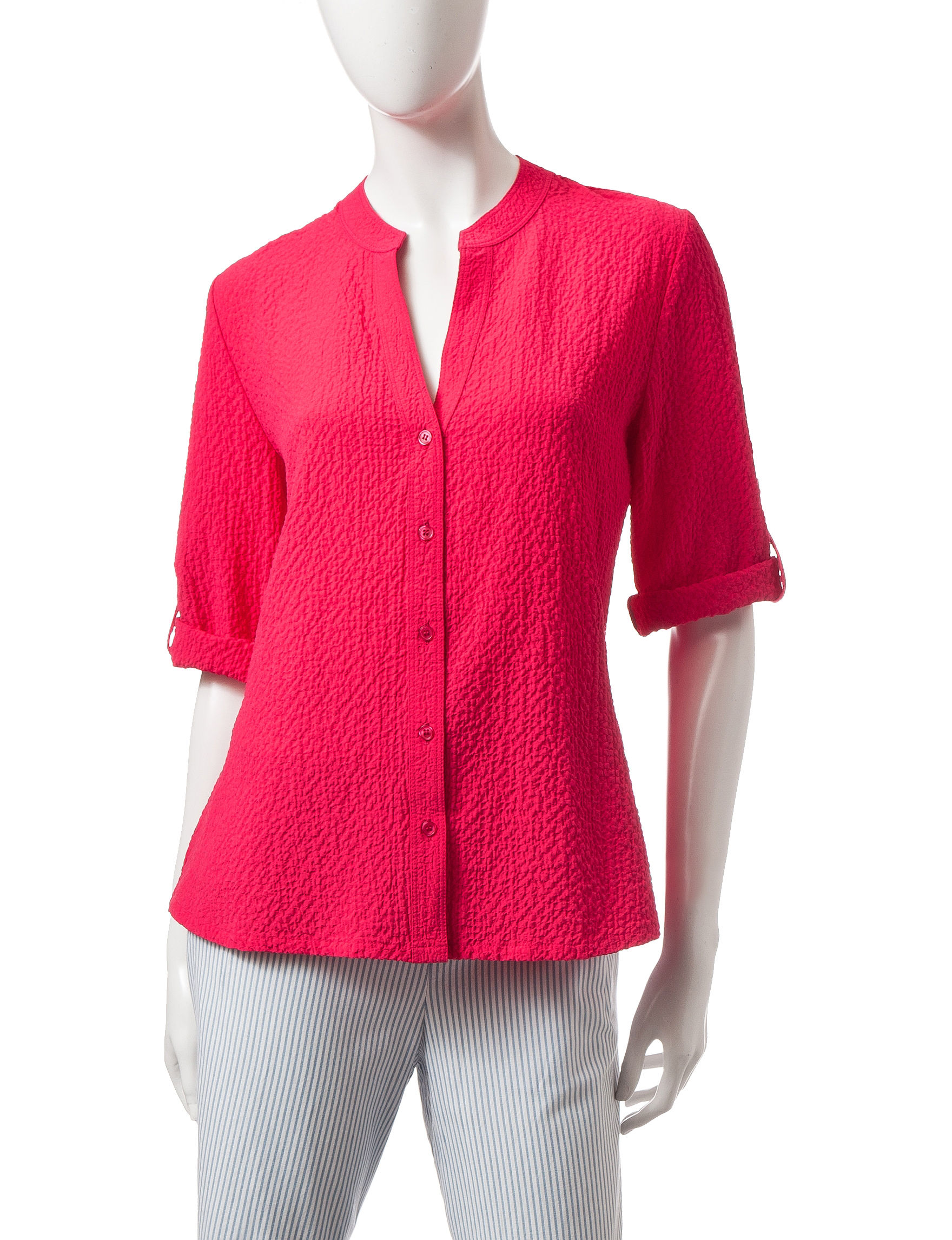 Rebecca Malone Pink Casual Button Down Shirts