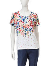 Cathy Daniels Floral Print Embellished Knit Top