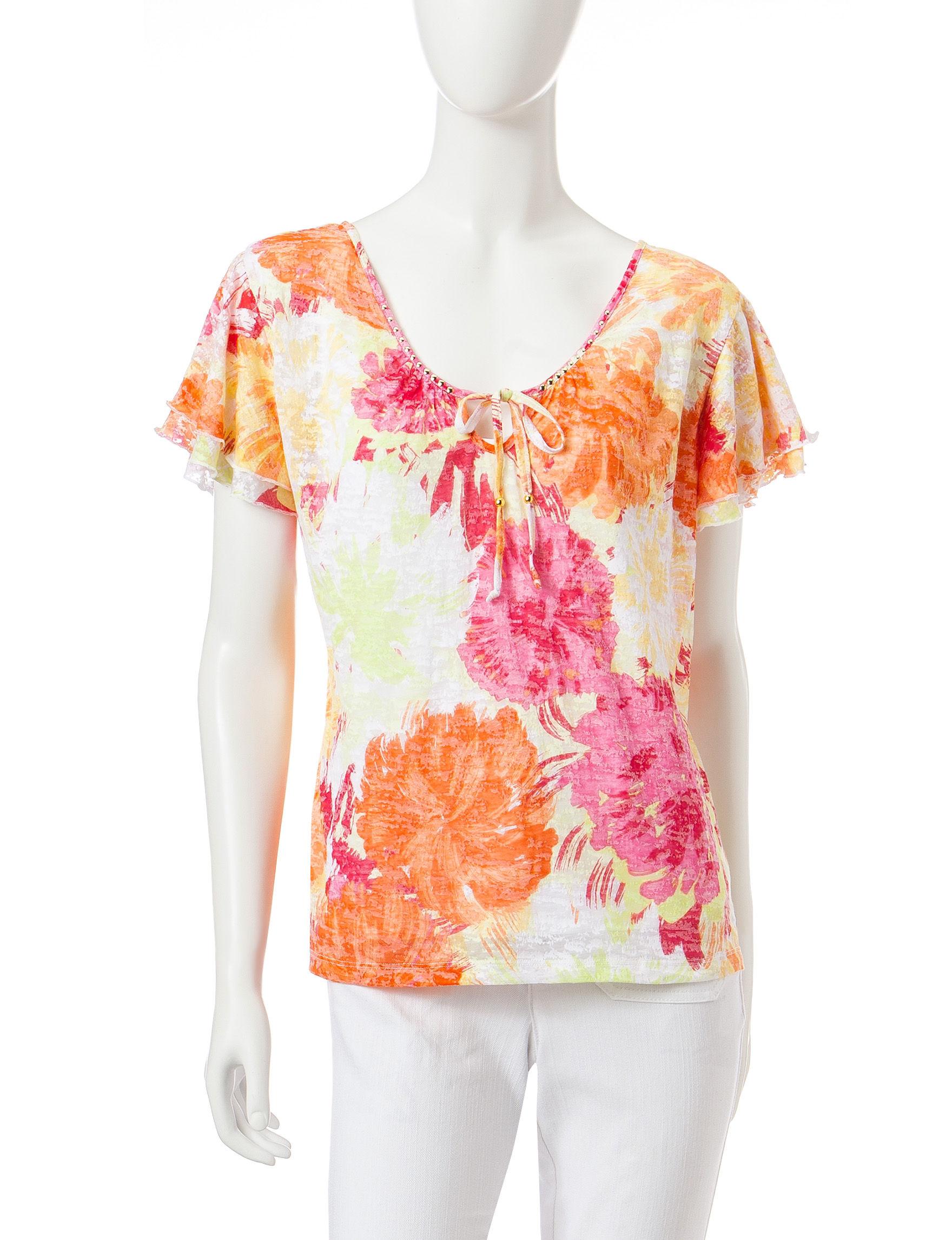 Hearts of Palm Orange Shirts & Blouses