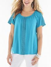 Rebecca Malone Solid Color Blue Crochet Peasant Top