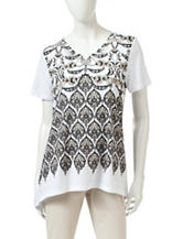 Rebecca Malone Embellished Knit Top